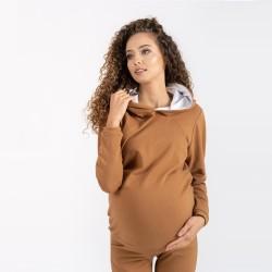 Těhotenská a kojící mikina MARGO - karamelová