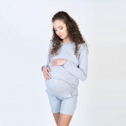 Těhotenská a kojící mikina MEGI - šedá melanž