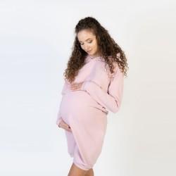 Sportovní těhotenské a kojící šaty DORA - světle růžová