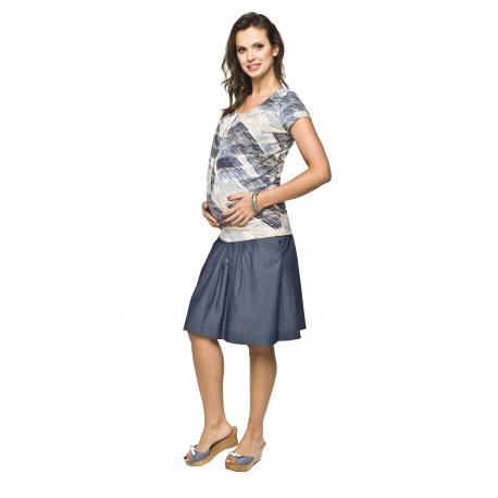 Těhotenská halenka Moe modrobéžová