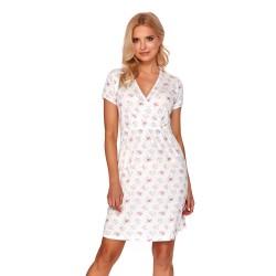 Těhotenská a kojící noční košile - bílá s květinami