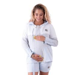 Těhotenská a kojící mikina GALLA - šedá, sv.modrá