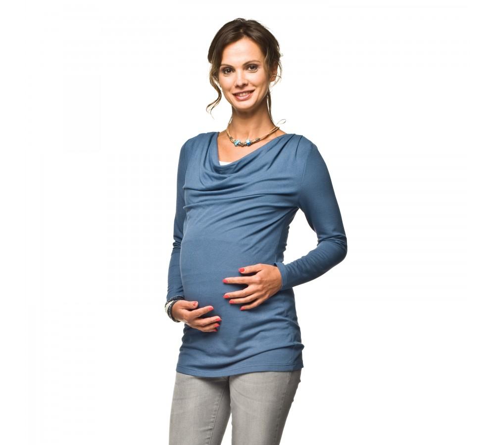 Těhotenská a kojící halenka Tollo modrá
