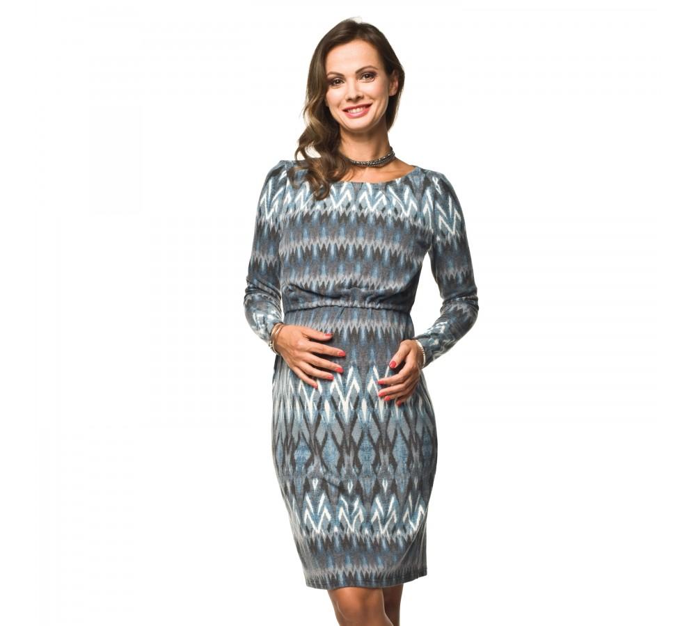 Těhotenské a kojící šaty Muza II. modro krémové