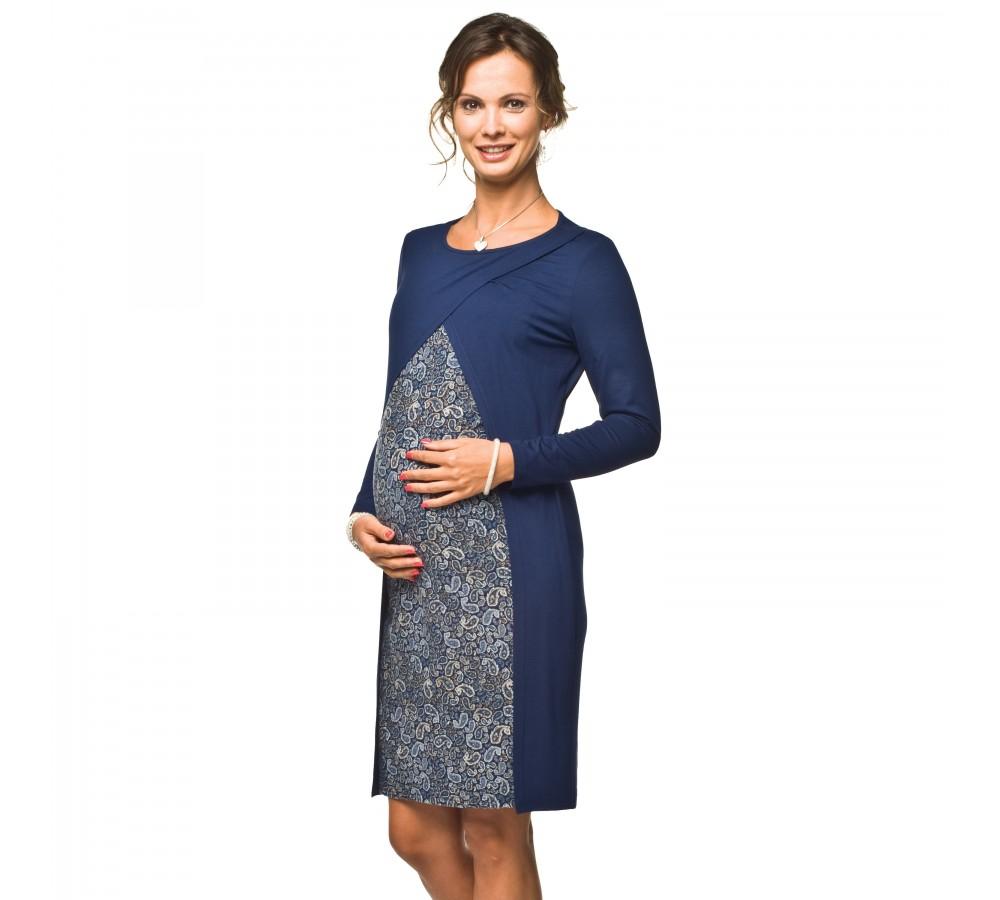 Těhotenské a kojící šaty Ivon dlouhý rukáv