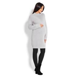 Těhotenský dlouhý svetr Sami světle šedý
