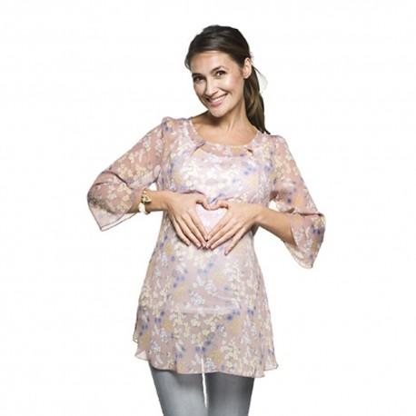 Těhotenská a kojící halenka Carla + Top růžová