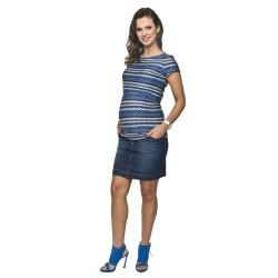 Těhotenská a kojící halenka Gaja modrá pruhovaný vzor