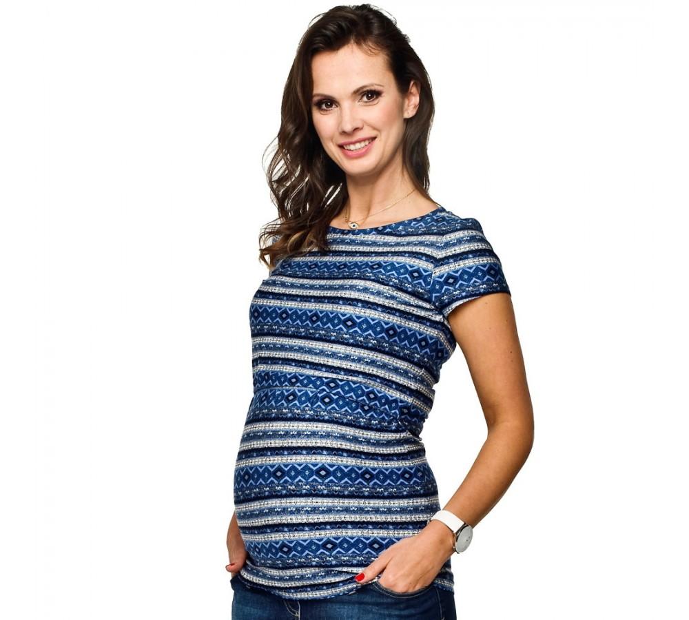 Těhotenská a kojící halenka Gaja modrý vzor