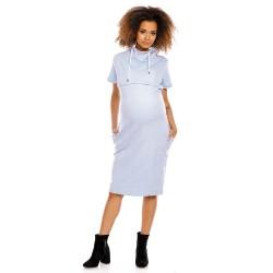 Těhotenské a kojící šaty Rút světle modré