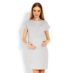 Těhotenské asymetrické elegantní šaty Lilian šedé