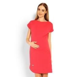 Těhotenské asymetrické elegantní šaty Lilian korálové