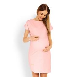 Těhotenské asymetrické elegantní šaty Lilian pudrové