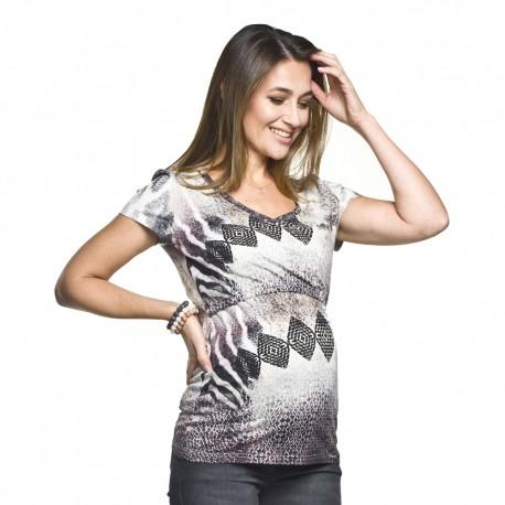 Těhotenská a kojící halenka Sori se vzorem
