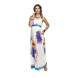 Těhotenské šaty Maxi fialové květy