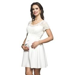 Těhotenské luxusní krajkové šaty Santia krémové