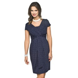 Těhotenské šaty Blufi KR tmavě modré s puntíky