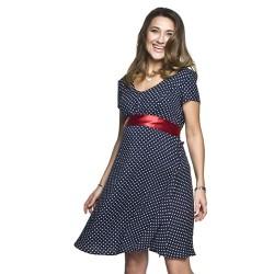 Těhotenské šaty Dots modré s puntíky