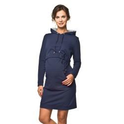 Těhotenské a kojící sportovní šaty Hoodie modré