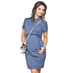 Letní těhotenské minišaty Hoodie modré