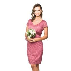 Luxusní krajkové těhotenské šaty Lace KR růžové
