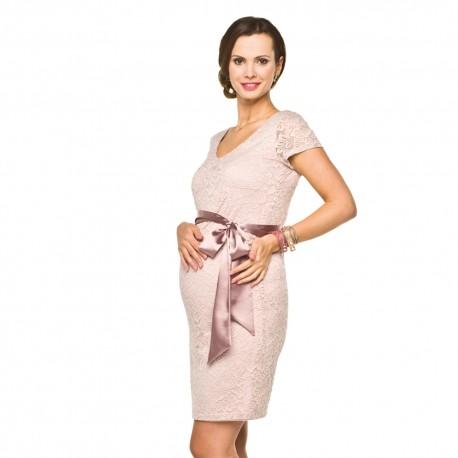 Luxusní krajkové těhotenské šaty Lace světle růžové