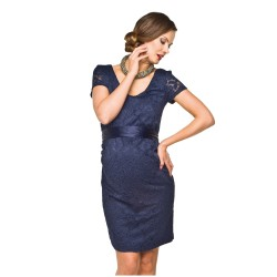 Luxusní krajkové těhotenské šaty Lace KR tmavě modré