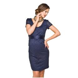 Luxusní krajkové těhotenské šaty Lace tmavě modré