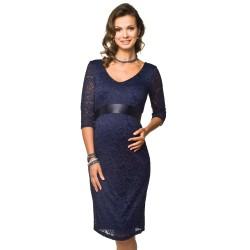 Těhotenské krajkové šaty Lace dlouhý rukáv modré