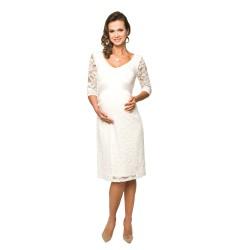 Těhotenské krajkové šaty Lace dlouhý rukáv krémové