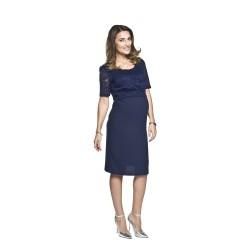 Těhotenské šaty s krajkou Blanca tmavě modré