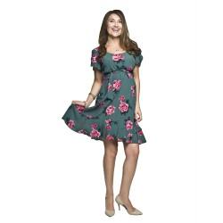 Letní těhotenské a kojící šaty Kamea zelená s růžemi