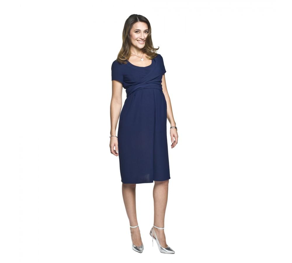 Letní těhotenské a kojící šaty Lavinia tmavě modré