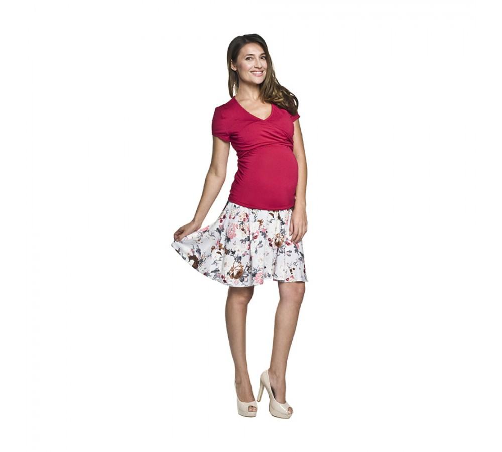 1ef179d2a6 Těhotenská sukně Kika krémová s květy   Móda TaLeTi