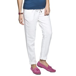 Lněné těhotenské kalhoty Lanti bílé