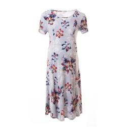 Těhotenské šaty AGATA šedá s květy