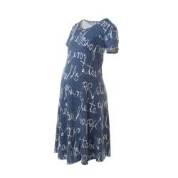Těhotenské šaty AGATA modrá vzor