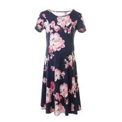Těhotenské šaty AGATA růžové květy