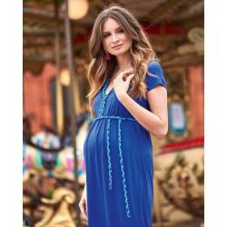 Dlouhé těhotenské šaty Livia kobaltová