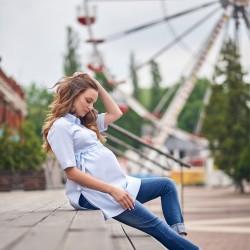 Těhotenská a kojící košile Ydo pomněnková