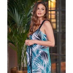 Těhotenské a kojící maxišaty Nona palmové listy