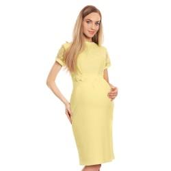 Luxusní těhotenské midišaty s krajkou Charm lemon