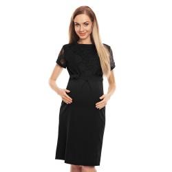Luxusní těhotenské midišaty s krajkou Charm černá