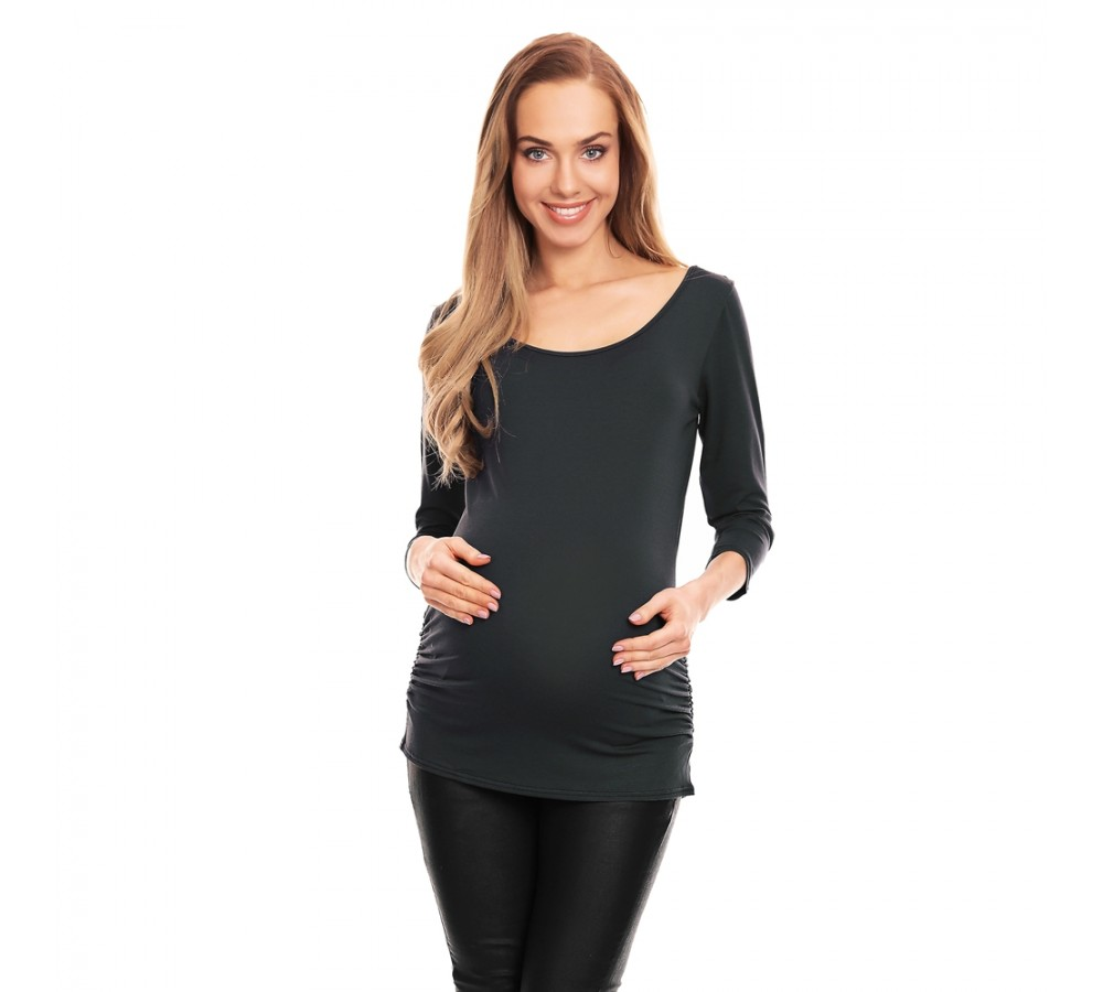 Těhotenská halenka s 3/4 rukávem Soft grafit