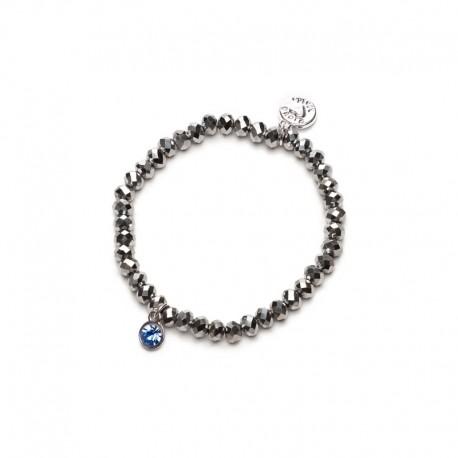 Náramek Charm stříbrný s modrým kamínkem