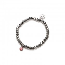 Náramek Charm stříbrný s růžovým kamínkem