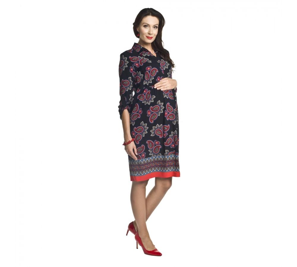Těhotenské a kojící šaty Paloma černé se vzorem