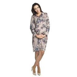 Těhotenské a kojící šaty Paloma béžová se vzorem