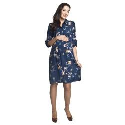 Těhotenské a kojící šaty Paloma modrá se vzorem