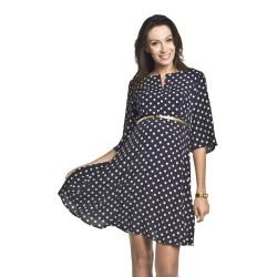 Těhotenské a kojící šaty Kaja tmavě modrá s puntíkem